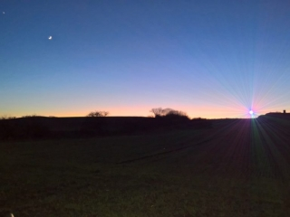 View of Mid-Winter Sunset Over Billinge Hill